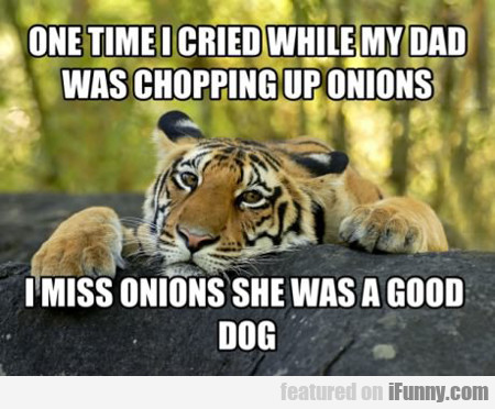 one time i cried while my dad was chopping up...