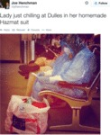 Lady Just Chilling At Dulles In Her Homeade...