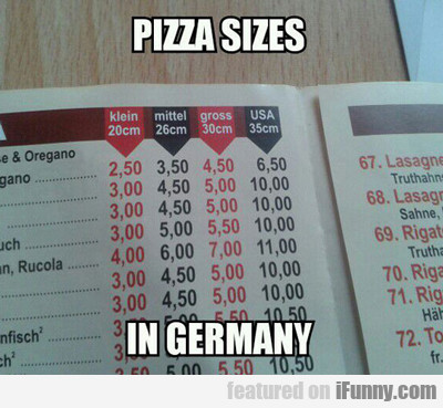 pizza sizes in germany...