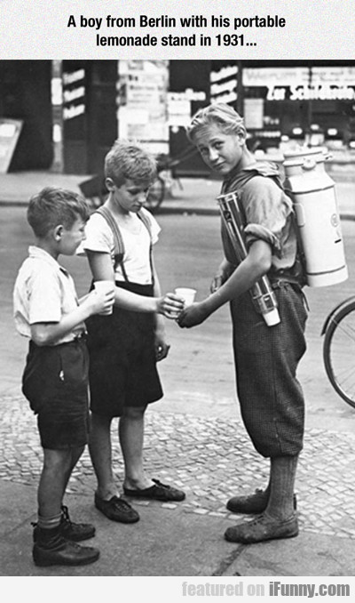 A Boy From Berlin With His Portable Lemonade...