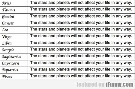 The Stars And Planets Will Not Affect Your Life...