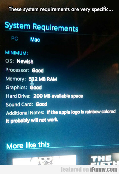 These System Requirements Are Very Specific...