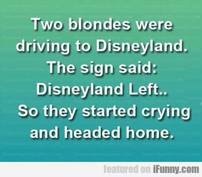 Two Blondes Were Driving To Disneyland...