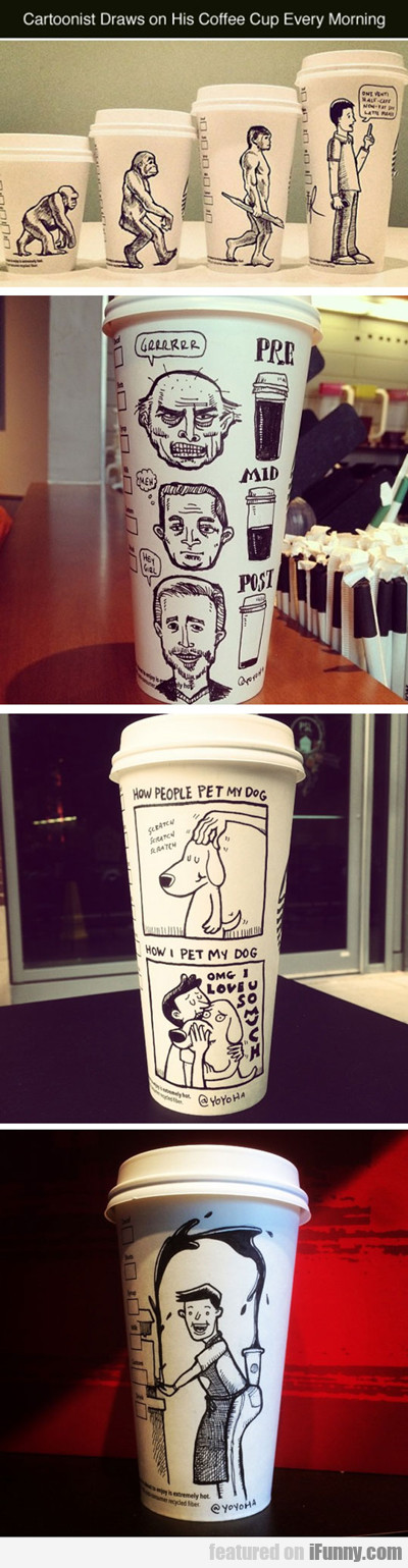 Cartoonist Draws On His Coffee Cup...