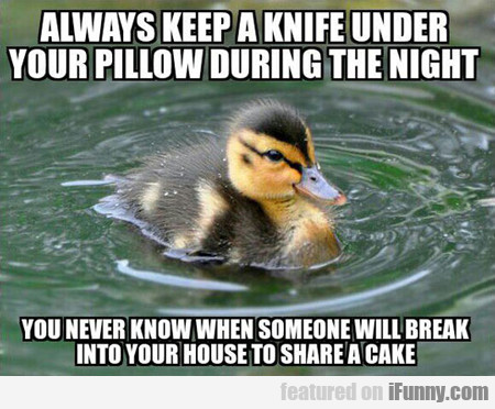 Always Keep A Knife Under Your Pillow...