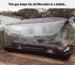 This Guy Keep His Old Mercedes In A Bubble...