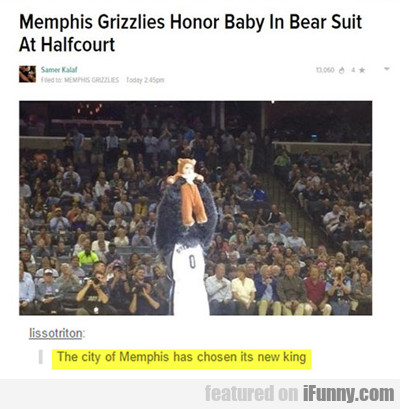 Memphis Grizzles Honor Baby In Bear Suit...
