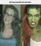 Girl Turns Herself Into She Hulk...