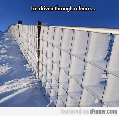 ice driven through a fence...