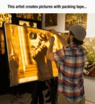 This Artist Creates Pictures With Packing Tape...