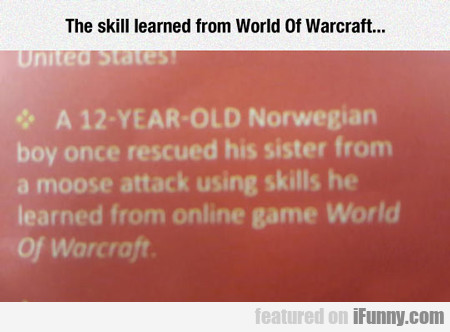 The Skill Learned From World Of Warcraft...