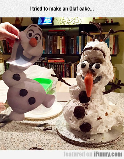 I Tried To Make An Olaf Cake...