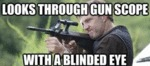 Looks Through Gun Scope...