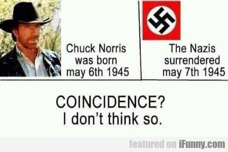 chuck norris was born may 6th 1945...