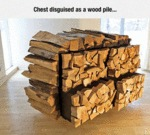 Chest Disguised In A Wood Pile...