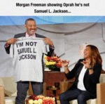 Morgan Freeman Showing Oprah...