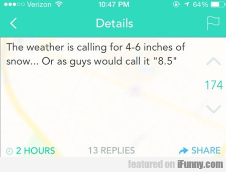 The Weather Is Calling For 4 To 6 Inches...