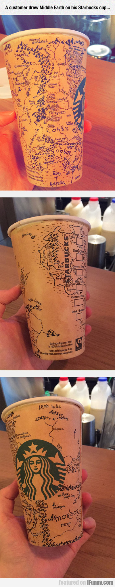 A Customer Drew Middle Earth On His Coffee Cup...