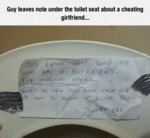 Guy Leaves Note Under The Toilet Seat...