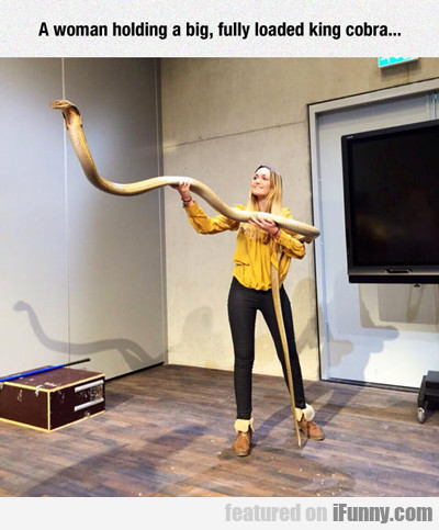A Woman Holding A Big, Fully Loaded King Cobra...
