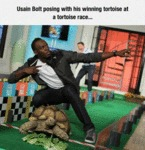 Usain Bolt Posing With His Winning Tortoise...