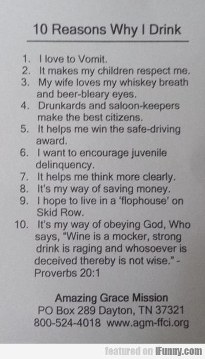 10 Reasons Why I Drink