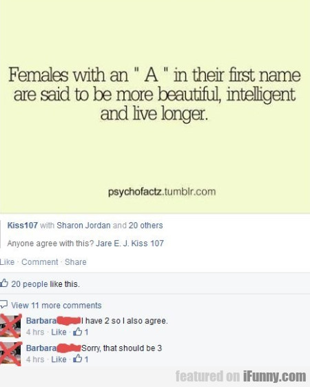 Females With An A In Their First Name.