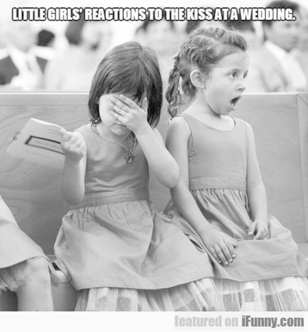 little girl;s reactions to the kiss at a wedding