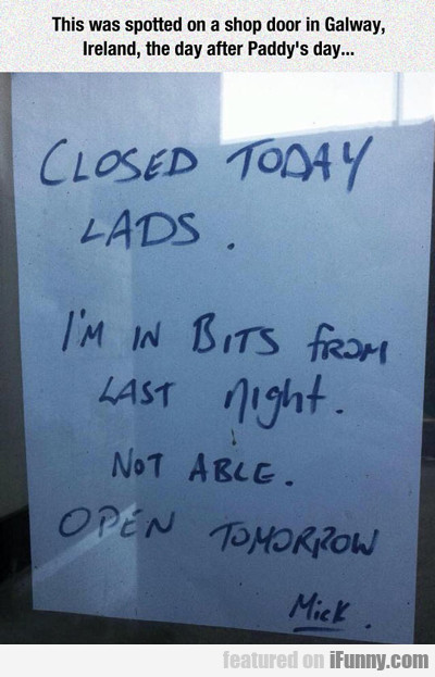 This Was Spotted On A Shop Door...