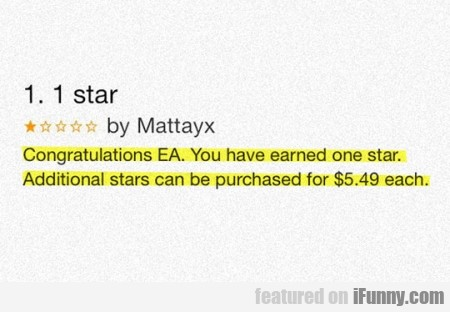 Congratulations Ea You Have Earned One Star