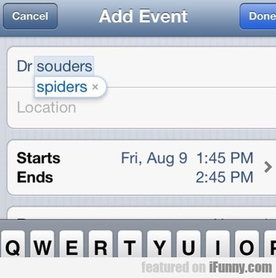 Add Event - Dr Souders Spiders