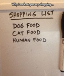Shopping List. Dog Food. Cat Food. Human...