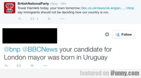 Your candidate for London mayor was born in...