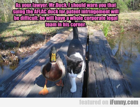 As your lawyer Mr Duck I should warn you...