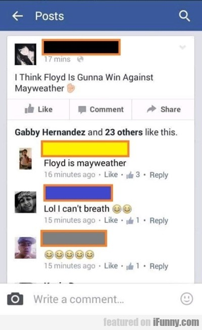 I Think Floyd Is Gunna Win Against