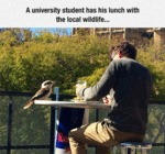 A University Student Has His Lunch...