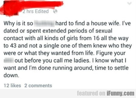 Why It Is So Hard To Find A House Wife