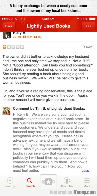 A Funny Exchange Between A Customer And The Owner