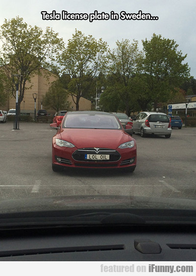 Tesla License Plate In Sweden..