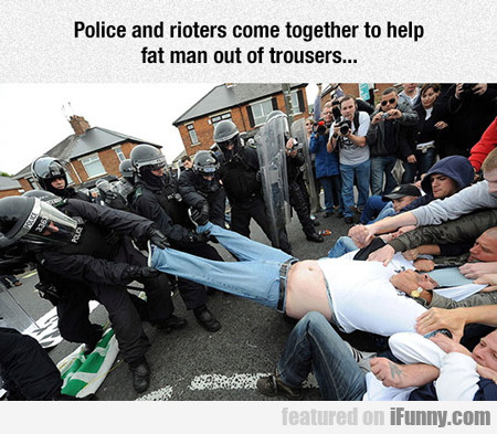 Police And Rioters Come Together...