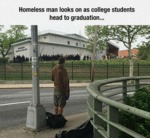 Homeless Man Looks On...