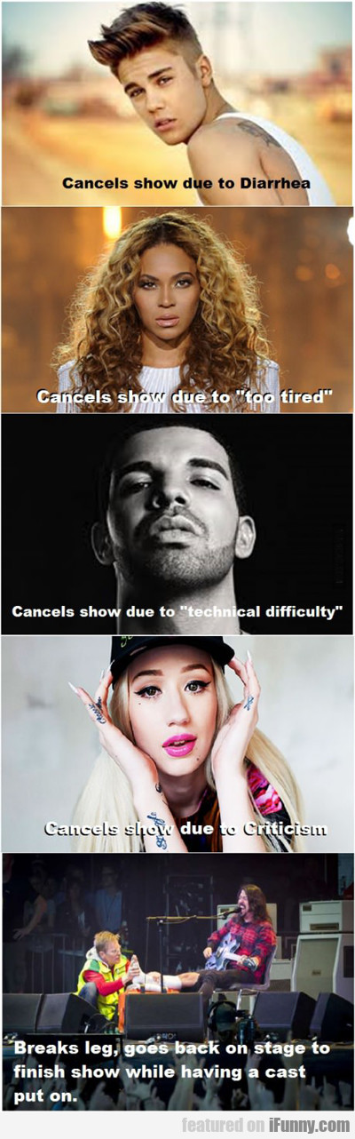 cancels show due to...