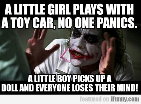 A Little Girl Plays With A Toy Car...
