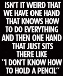 Isn't It Weird That We Have One Hand That...