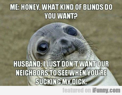 me: honey what kinds of blinds do you want...