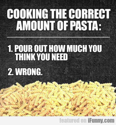 Cooking The Correct Amount Of Pasta.