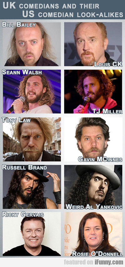Uk Comedians And Their Us Comedian Look Alikes...