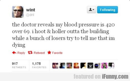 The Doctor Reveals My Blood Pressure