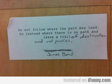 Do Not Follow Where The Path May Lead...