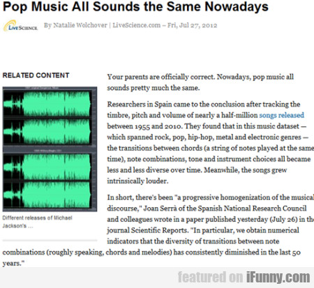 pop music all sounds the same